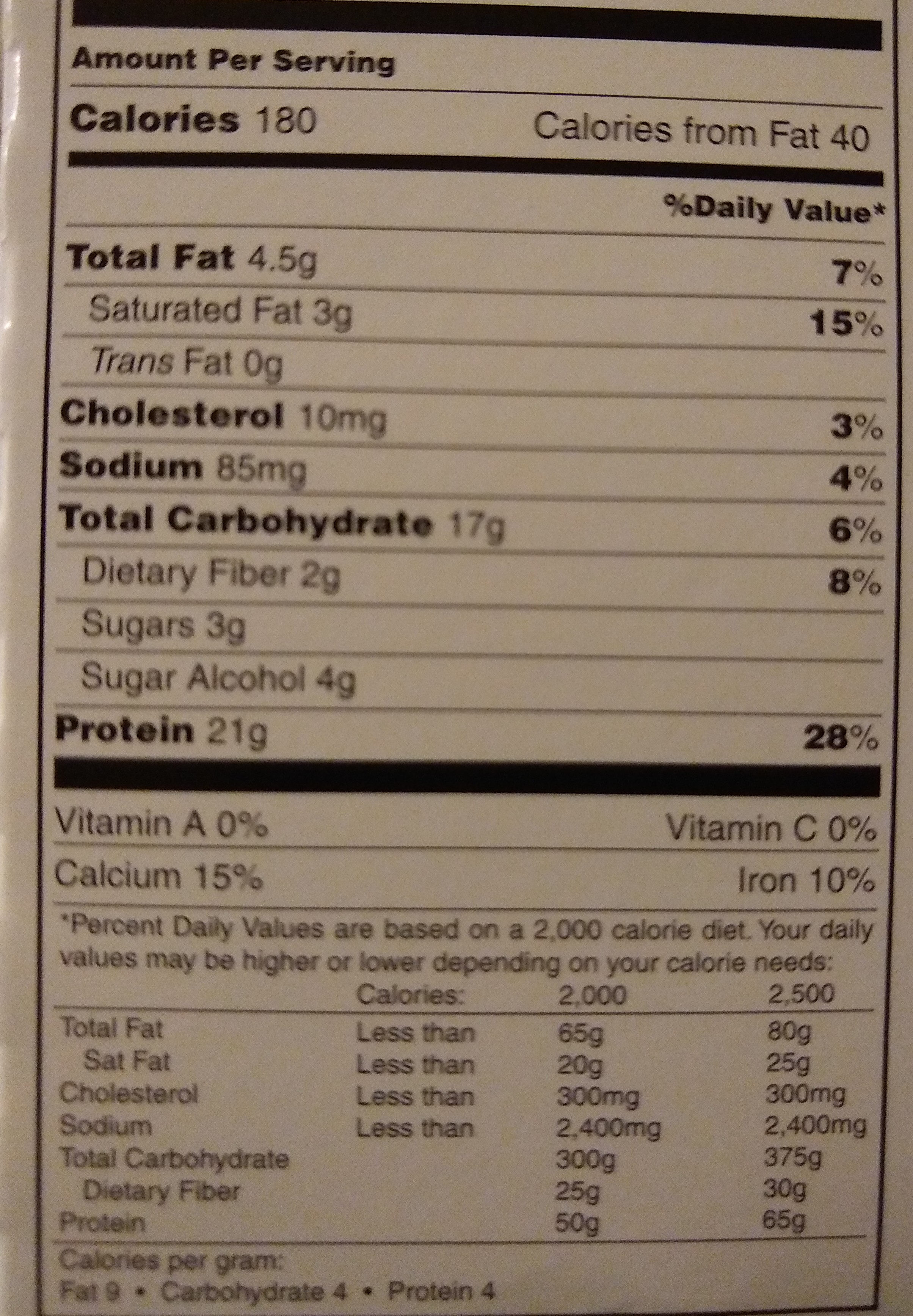 Protein bar deluxe chocolate - Nutrition facts