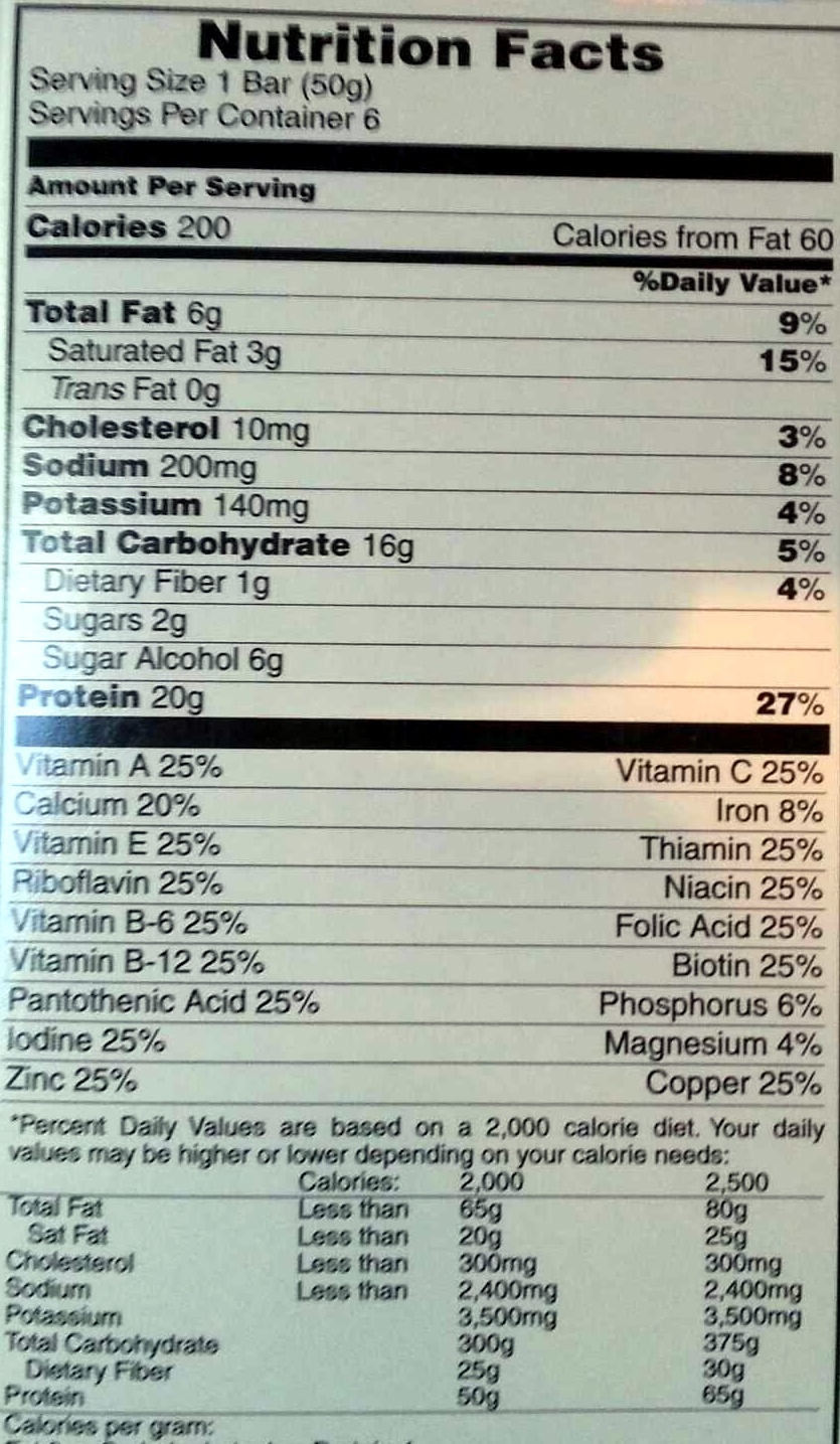 Pure Protein Bar - Nutrition facts