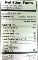 Chocolate deluxe bar, chocolate deluxe - Nutrition facts - en
