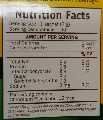 Tropicana slim - Giá trị dinh dưỡng - en