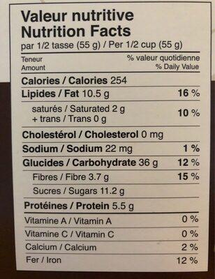 Ilios granola biologique - Voedingswaarden - fr
