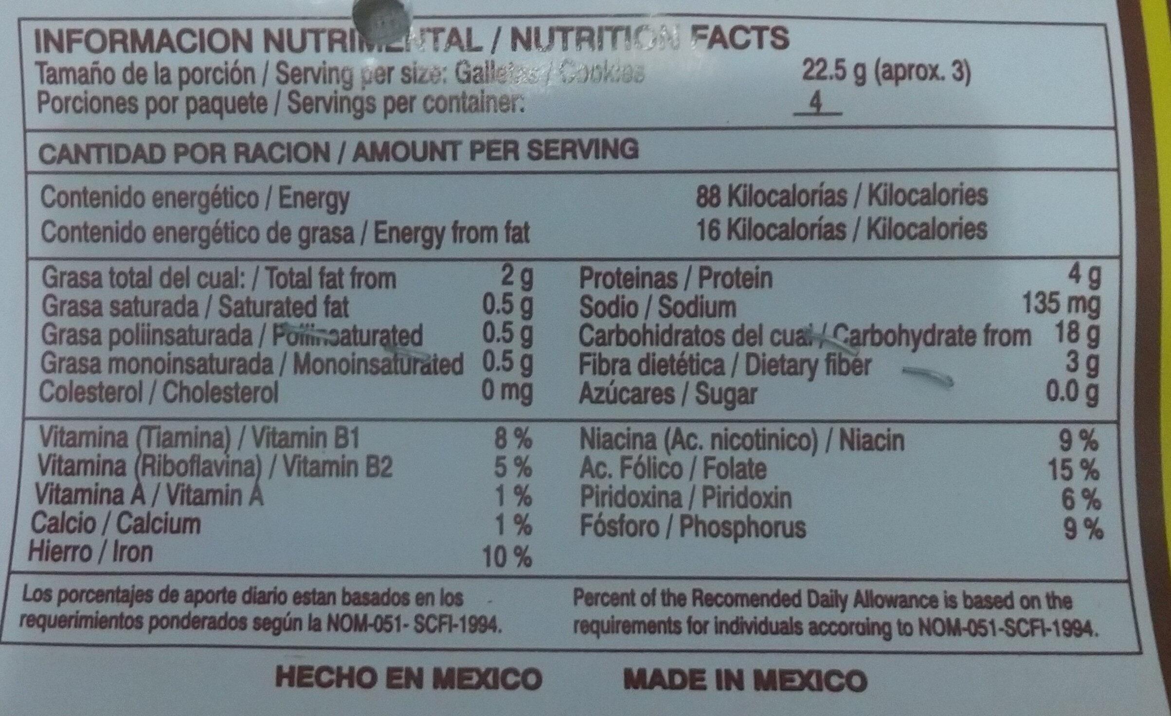 Galletas integrales - Información nutricional - es