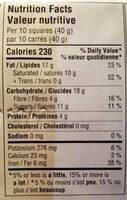 Bitersweet Noir - Nutrition facts - fr