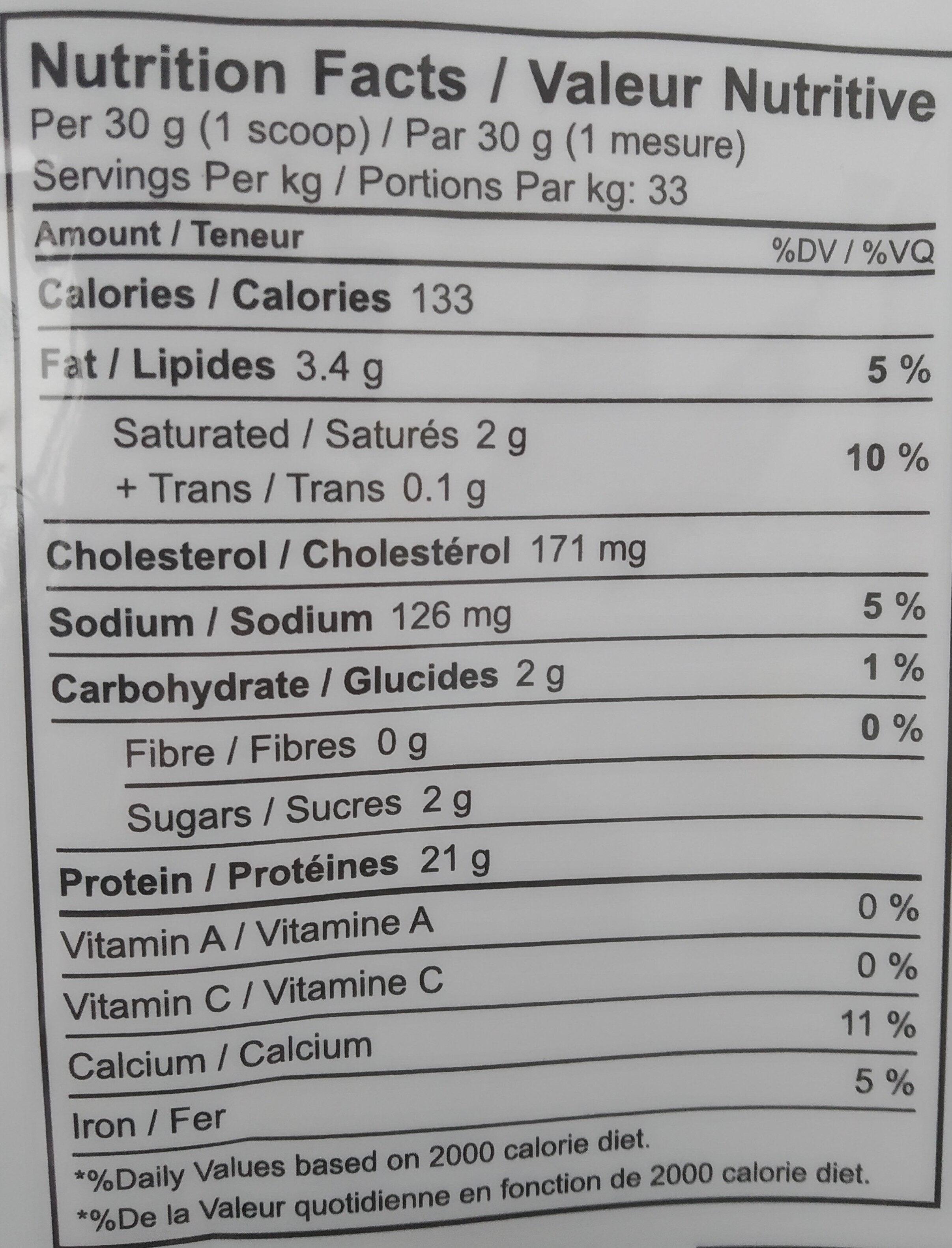 Economy Whey - Informations nutritionnelles - en