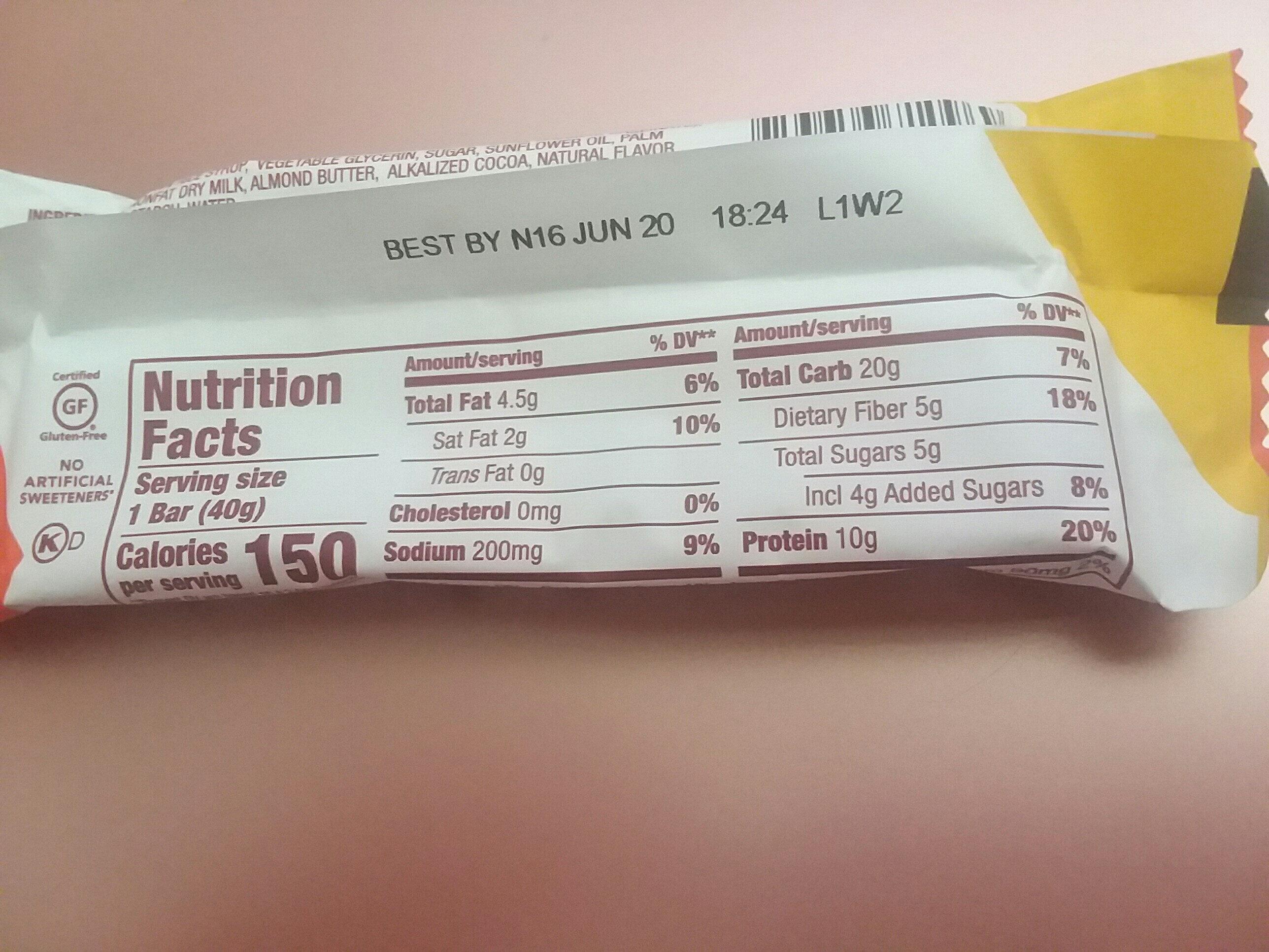 Salted caramel protein+ bar - Informations nutritionnelles - en
