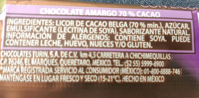 Chocolate amargo 70% cacao - Ingredientes - es