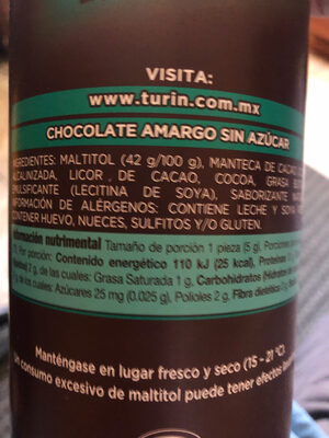 Chocolate amargo sin azúcar - Ingrédients