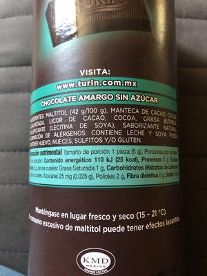 Chocolate amargo sin azúcar - Informations nutritionnelles