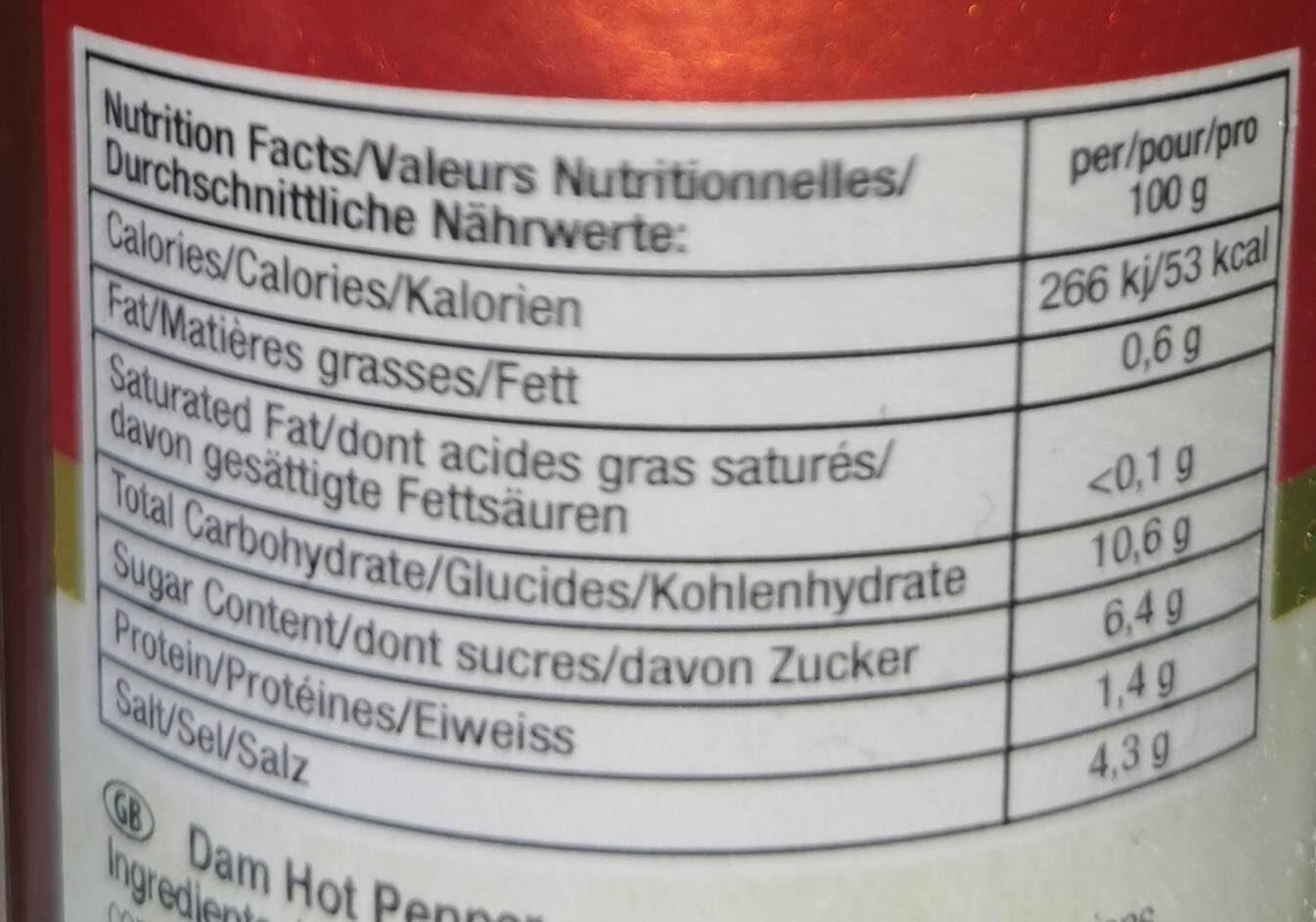 Dam Hot Pepper Sauce - Informations nutritionnelles - fr