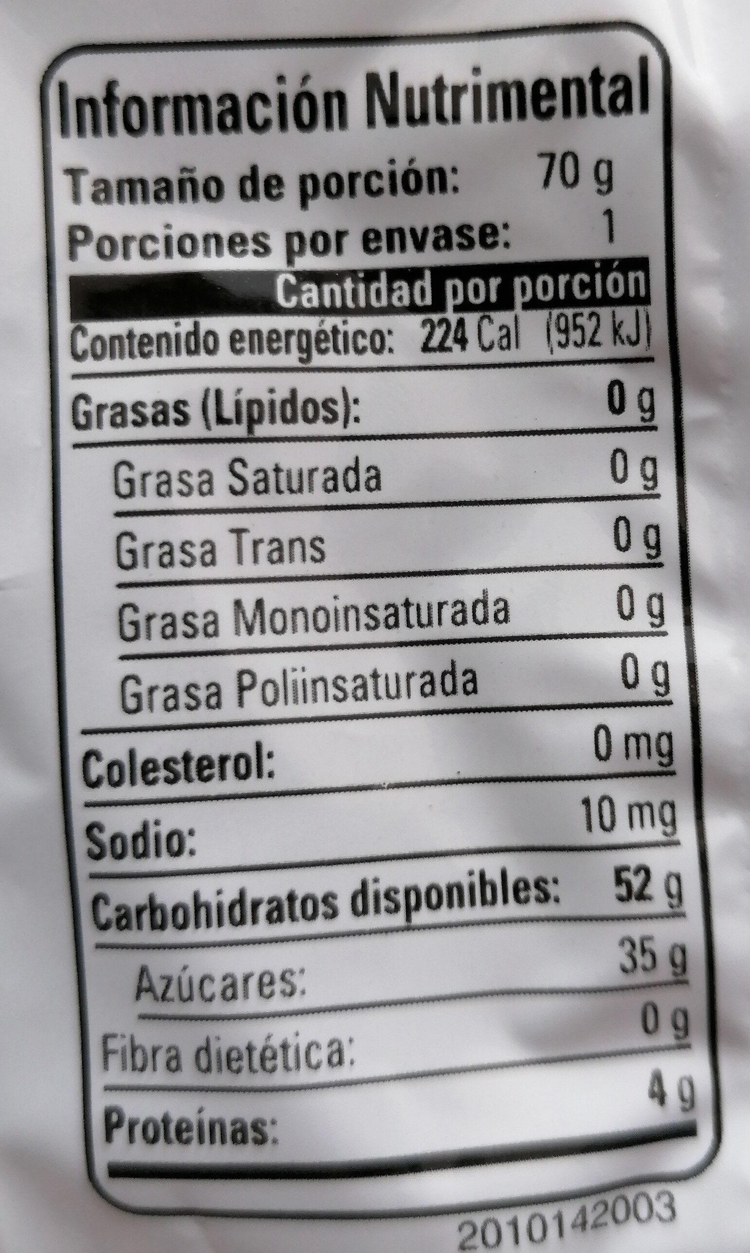 Panditas Clásicos - Información nutricional - es
