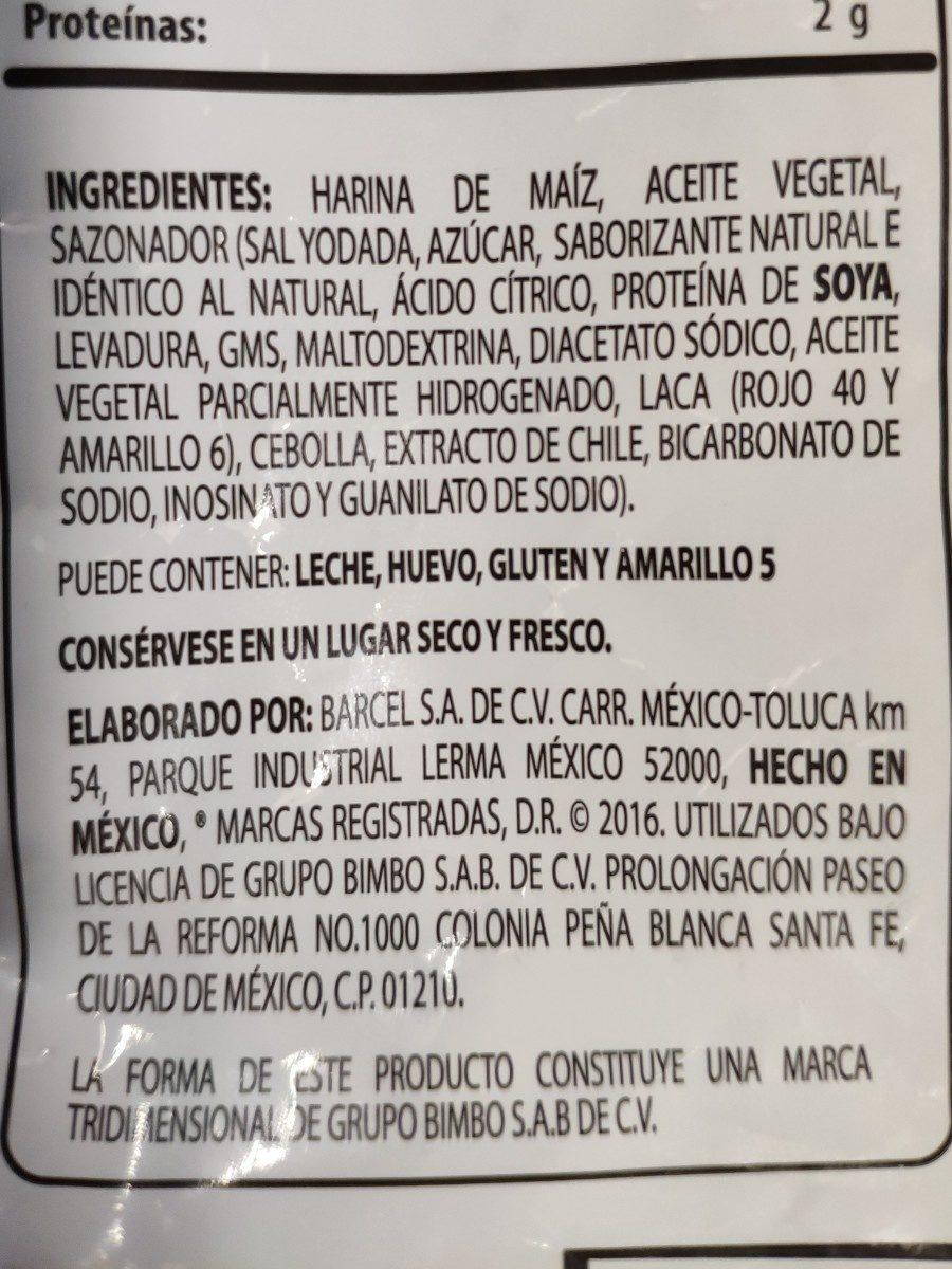 Takis Fuego - Ingredients - es