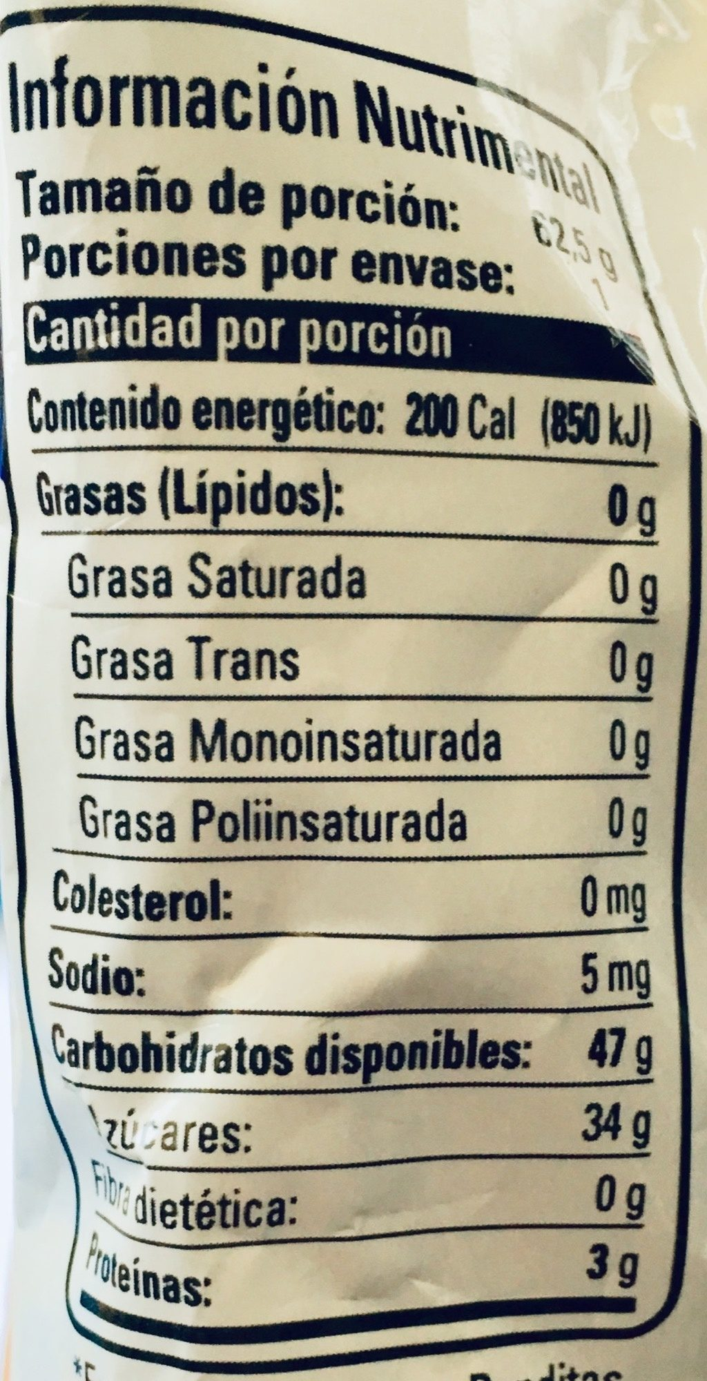 Panditas con sabores ácidos - Nutrition facts