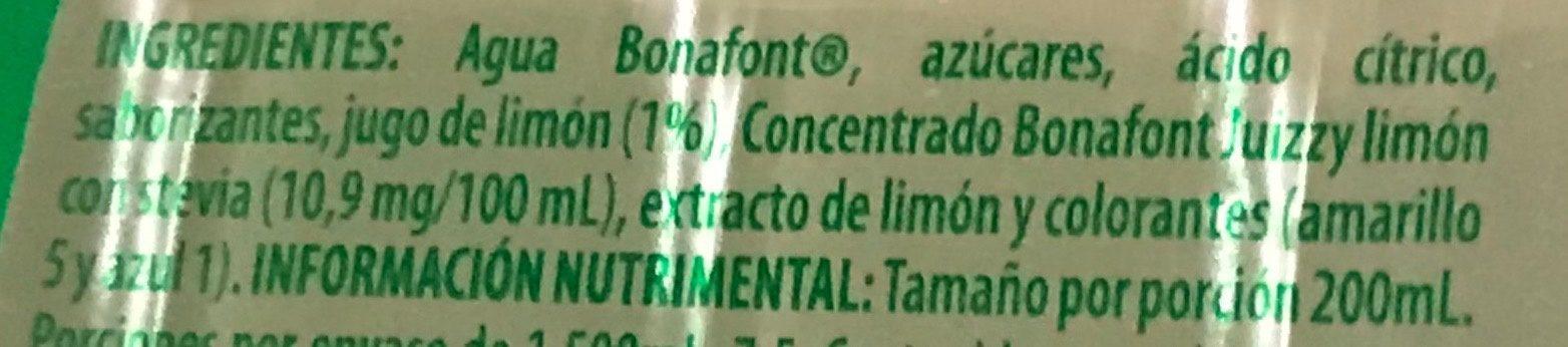 Bonafont Juizzy sabor Limón - Ingredients