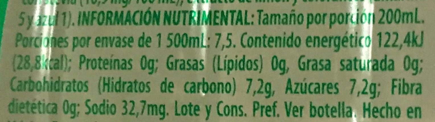 Bonafont Juizzy sabor Limón - Nutrition facts