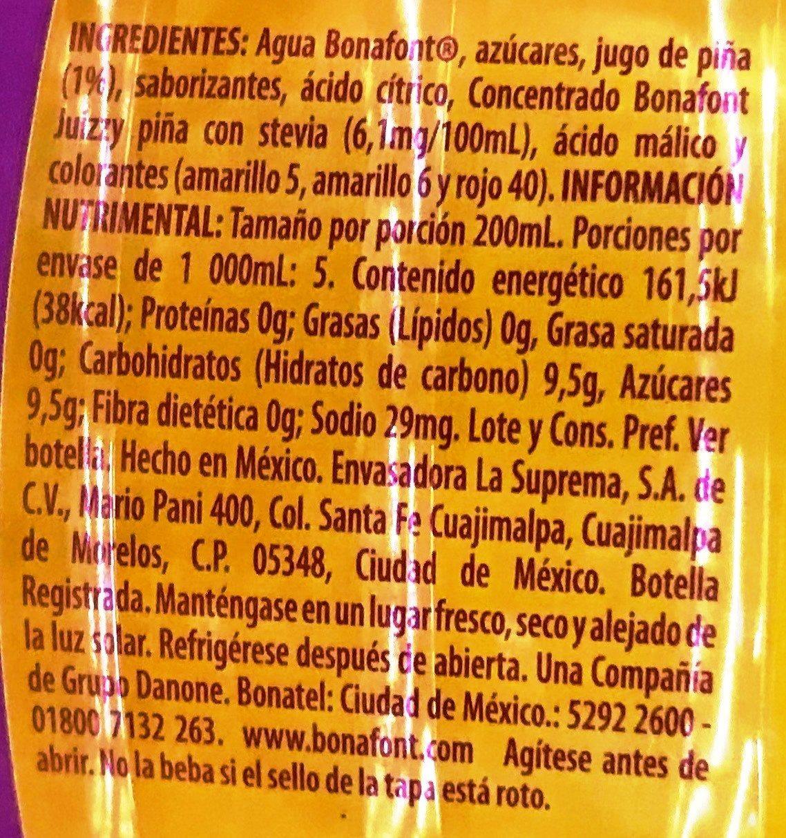 Bonafont Juizzy sabor Piña - Ingrediënten