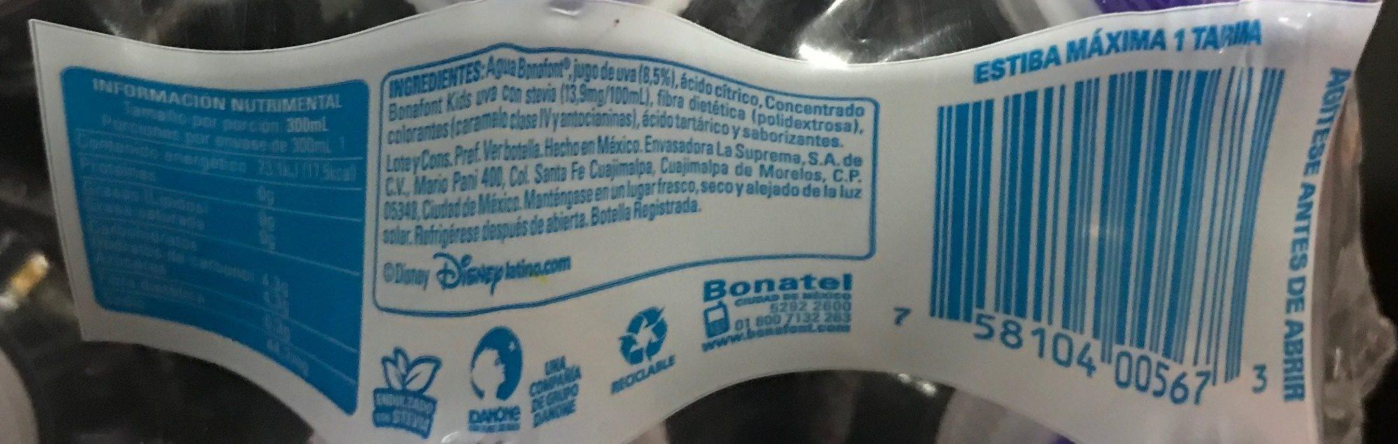 Bonafont Kids Sabor Uva 6 pack - Nutrition facts