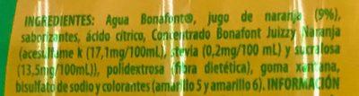 Bonafont Juizzy sabor Naranja - Ingrédients