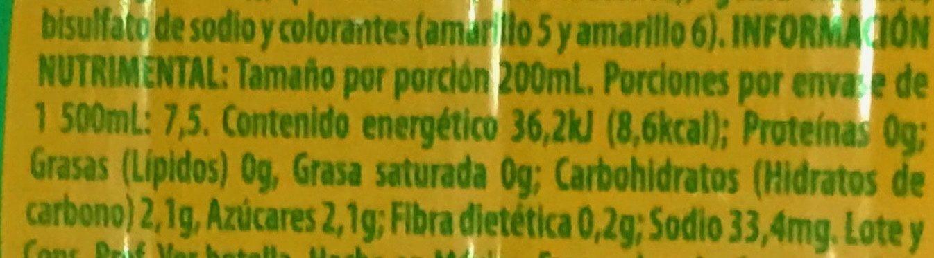 Bonafont Juizzy sabor Naranja - Informations nutritionnelles