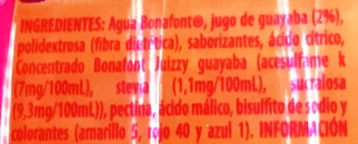 Bonafont Juizzy sabor Guayaba - Ingrédients