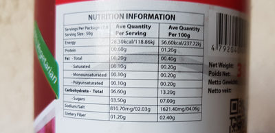 Achcharu - Informations nutritionnelles - fr