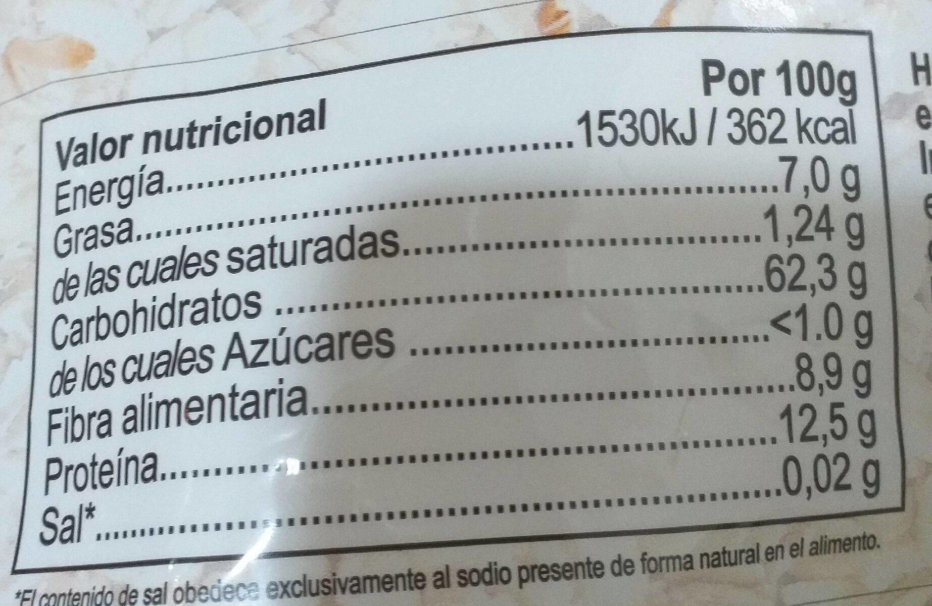 Harina de Avena - Información nutricional