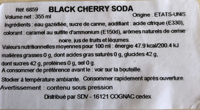 Cane Sugar Soda, Black Cherry - Ingredients