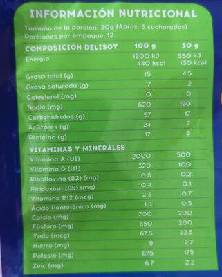 bebida de soya - Voedingswaarden - es