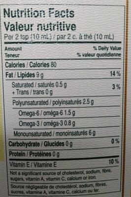Huile de Canola - Informations nutritionnelles - fr
