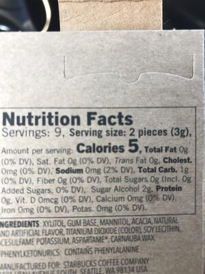 Gum Peppermint - Nutrition facts - en