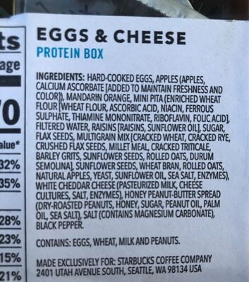Starbucks protein box - Nutrition facts - en