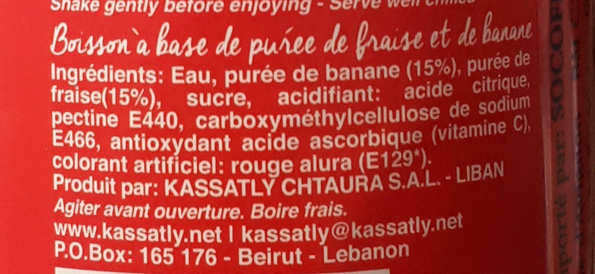 Boisson a base de purée de fraise et banane - Ingrédients