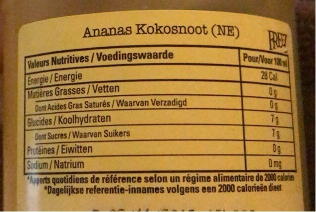 Freez ananas coco - Informations nutritionnelles - fr