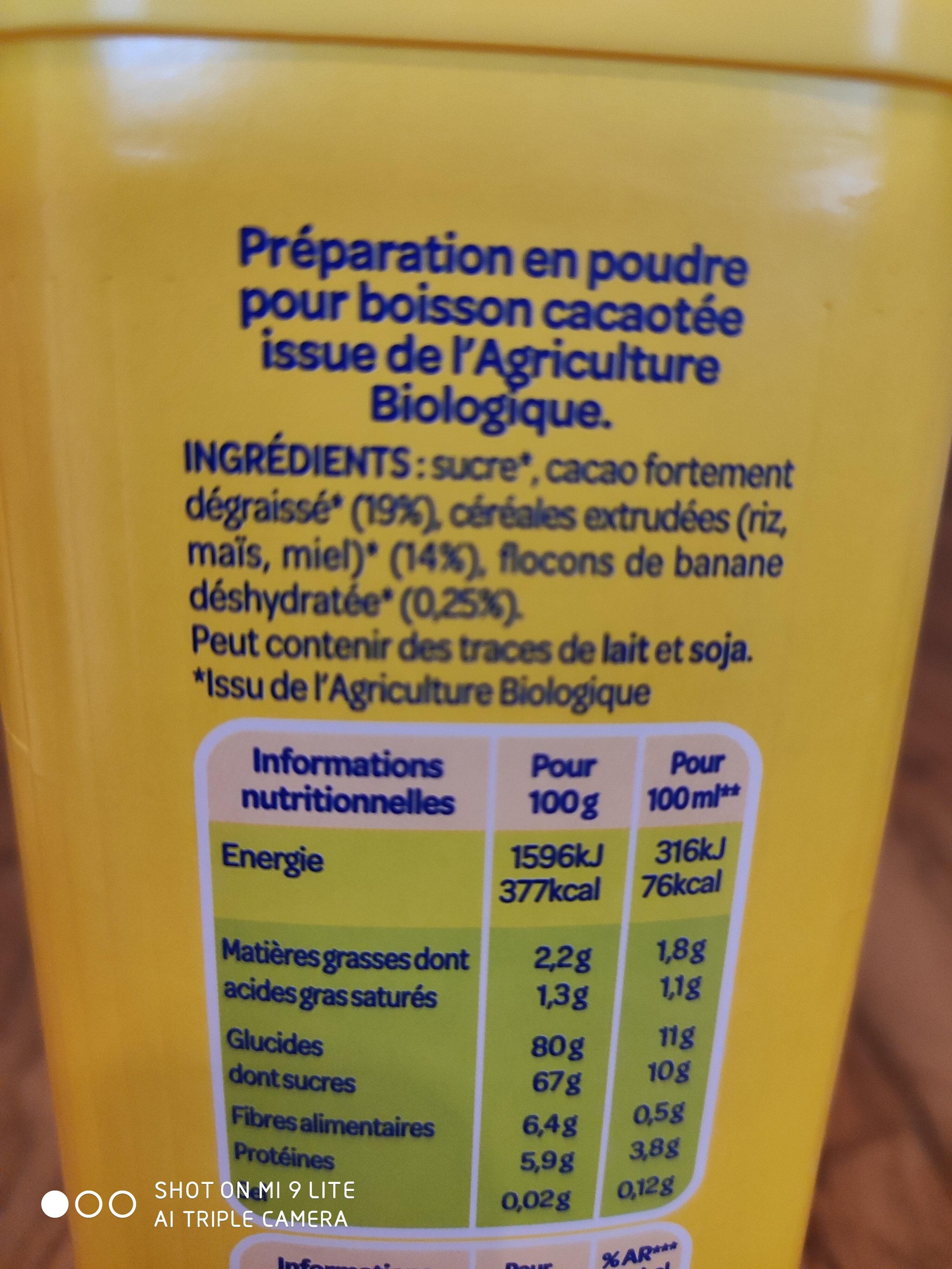 Banania Bio - Ingredients - fr