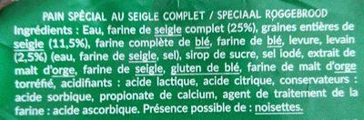 Pain spécial au Seigle complet - Ingrediënten