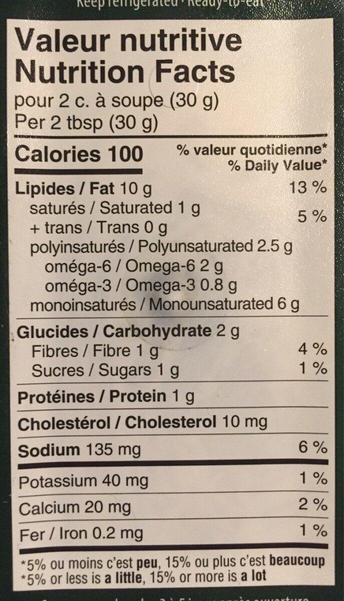 Trempette aux epinards - Informations nutritionnelles - fr