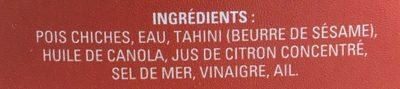 Hummus (traditionnel) - Ingrédients