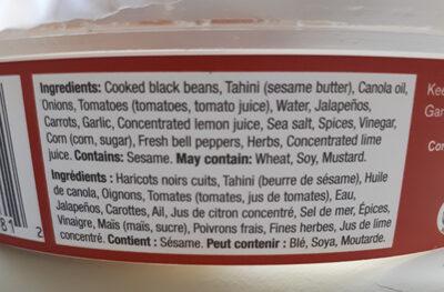 Hummus de haricots noirs - Ingrédients - fr