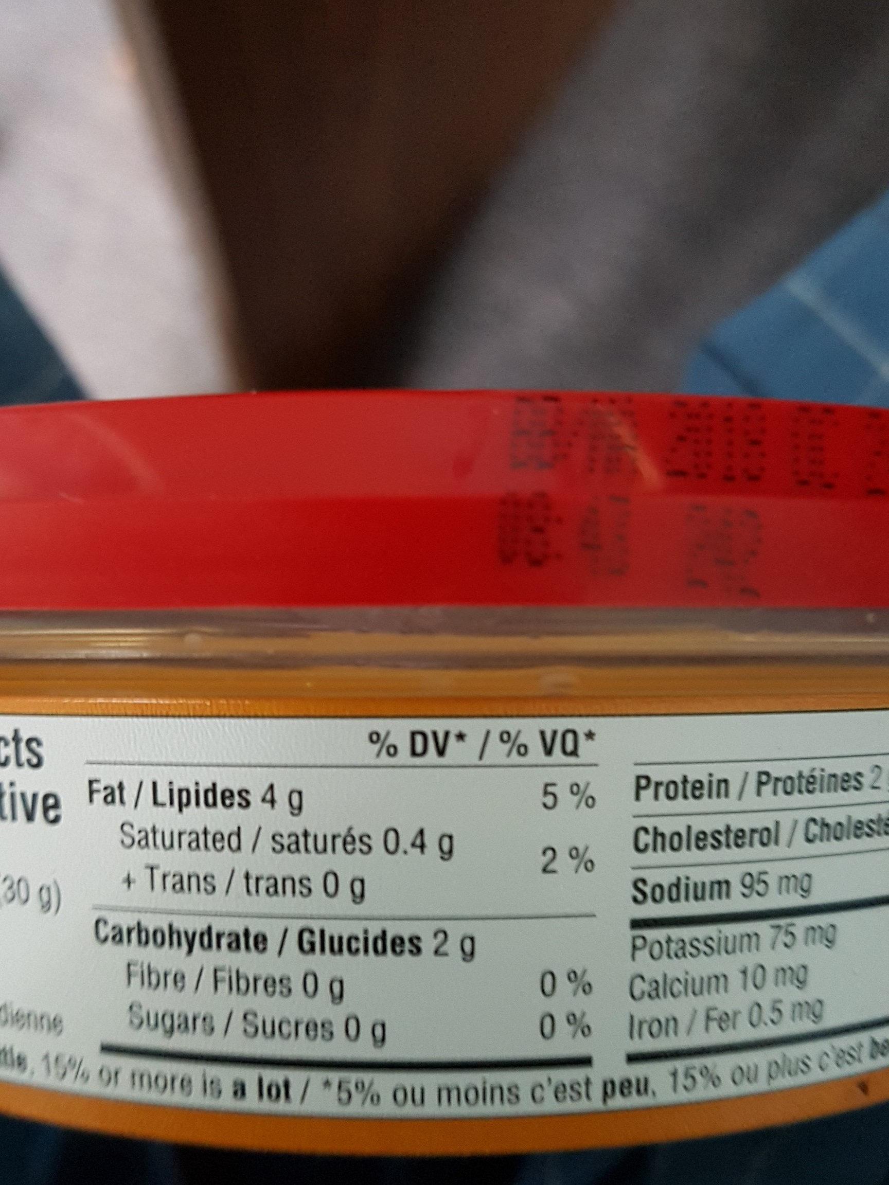 hummus de lentilles rouges - Voedingswaarden - fr