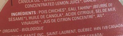 Hummus bio - Ingrédients - fr