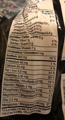 Pain blanc miche - Nutrition facts - fr