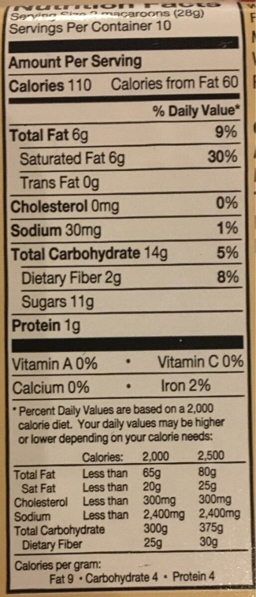 Coconut Macaroons - Nutrition facts