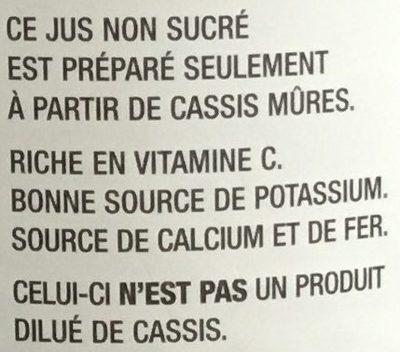 Jus de cassis - Ingredients - fr