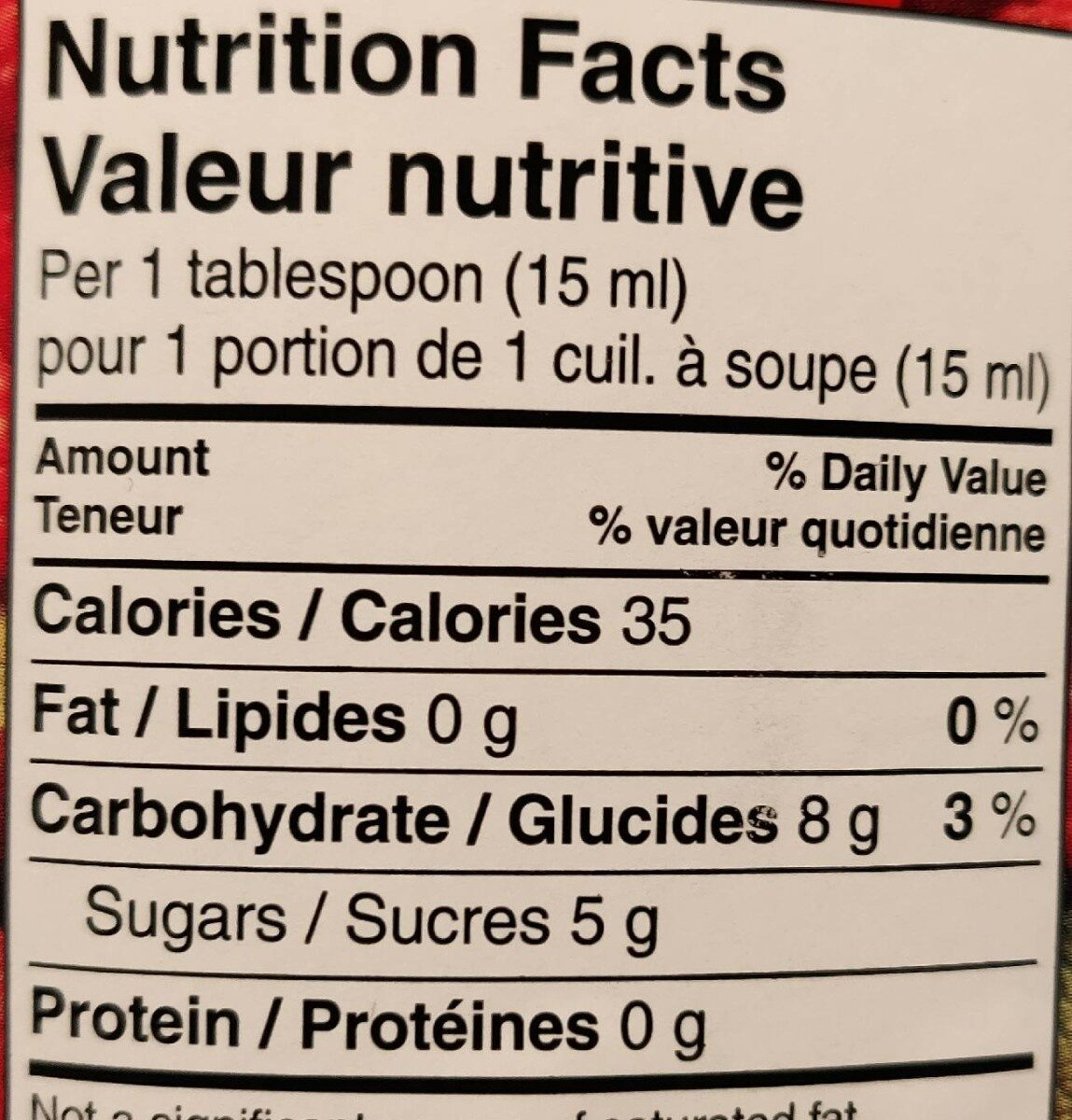 Raspberry jam - Informations nutritionnelles - fr