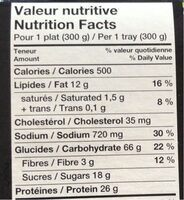 Poulet general tao - Nutrition facts - fr