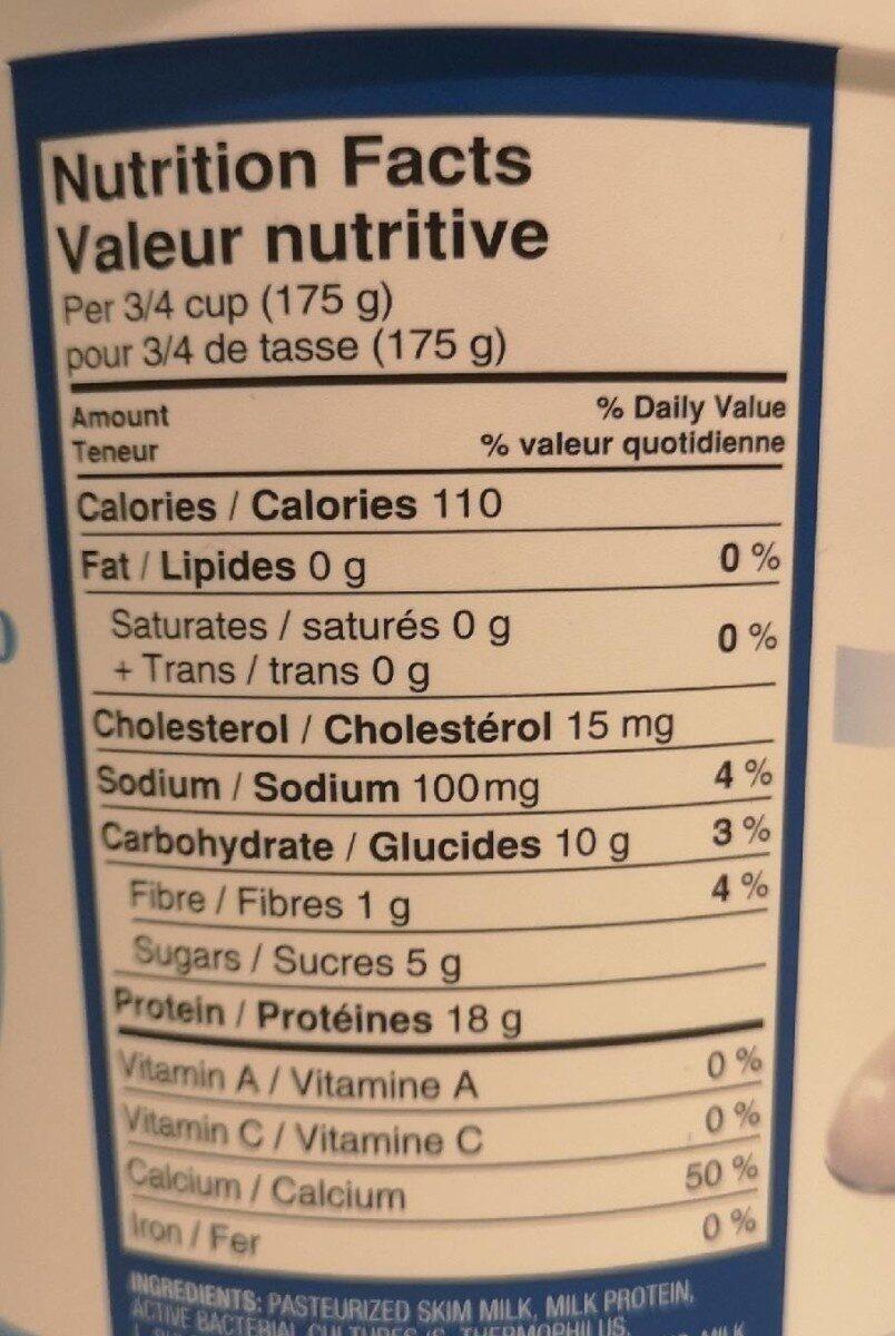 Greek Yoghurt - Voedingswaarden - fr