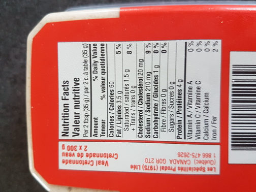 Cretonnade de veau - Nutrition facts - fr