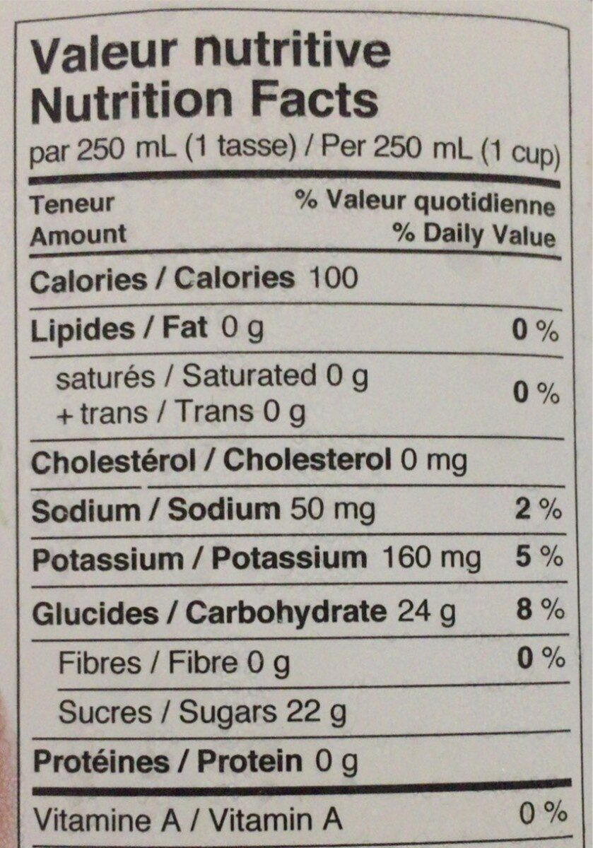 Sweet apple cider - Voedingswaarden - fr