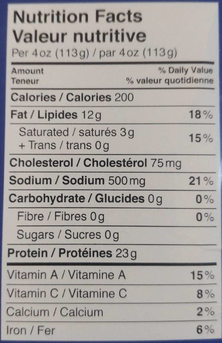 Smoked King Salmon - Nutrition facts - es
