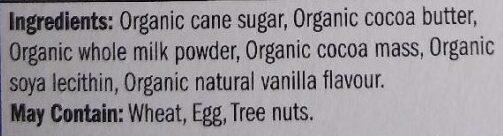 Chocolat lait Tanzanie - Ingredients - en