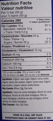 Chocolat lait Tanzanie - Nutrition facts - fr